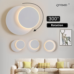 Image 2 - כיכר LED מנורת קיר לחדר שינה סלון לבן שחור פמוט קיר אורות 360 מעלות Rotatable מתכת 5W/16W גופי