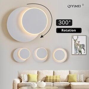 Image 2 - مربع وحدة إضاءة LED جداريّة مصباح لغرفة النوم غرفة المعيشة أبيض أسود الشمعدان أضواء الجدار 360 درجة تدوير المعادن 5 واط/16 واط تركيبات