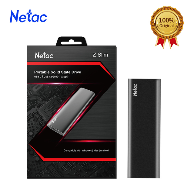 Netac ZSlim Portable External SSD 1TB 500GB 250GB SSD Hard Drive HDD Solid State Drive Type-c USB 3.1 Compatible for Laptop PC 1