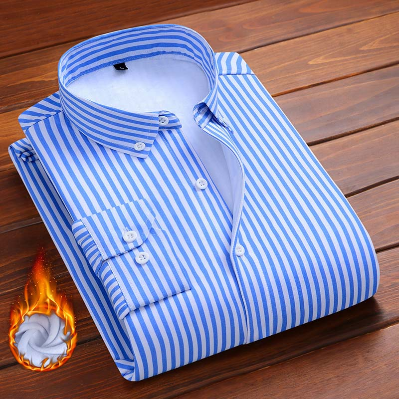 Aoliwen Brand Men Fashion Plush Shirt Flannel Wool Lining Striped Casual Shirts Men's Winter Warm Shirt Soft Not Shrinking Slim