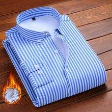 Aoliwen brand men fashion Plush shirt Flannel Wool lining Striped casual shirts Mens winter warm soft not shrinking slim