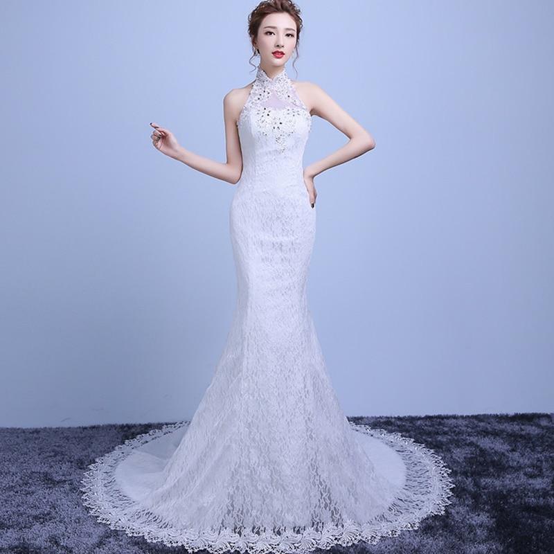Bridesmaid Dresses Mermaid/Trumpet Sleeveless Halter Lace Dress Elegant Maid Of Honor Dresses For Weddings Vestido Largo Sirena