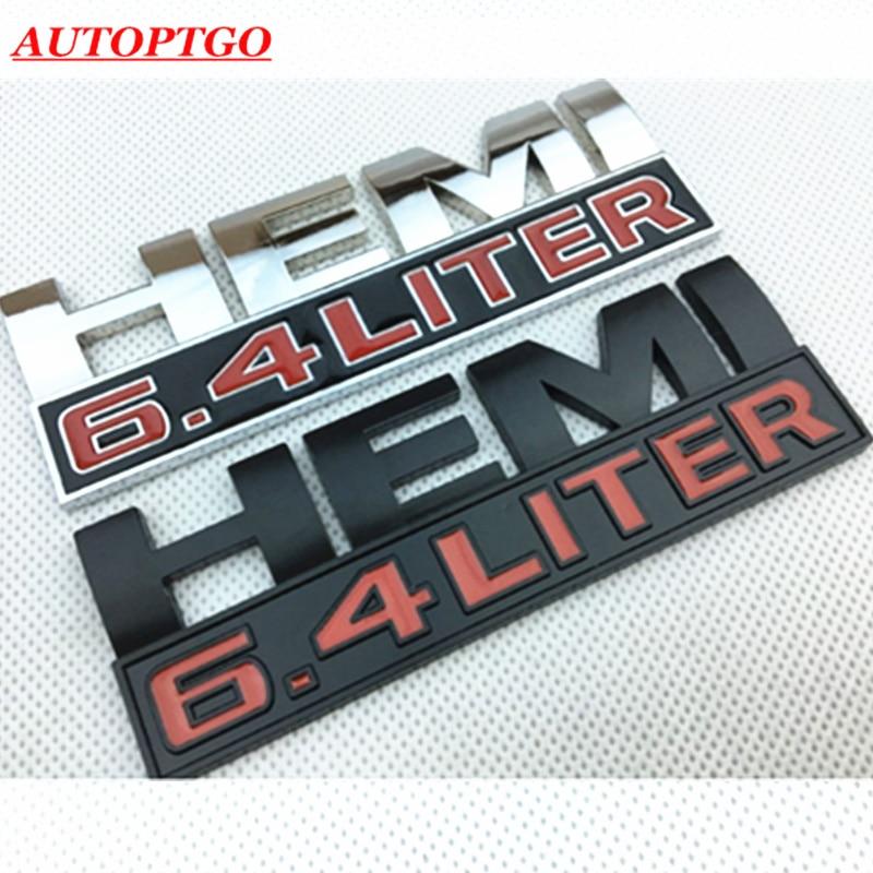1x HEMI 6.4 LITER ABS Silver Dodge Ram Charger Jeep Emblem Badge Decal Sticker