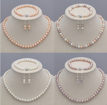 921 +++Genuine 7-8mm Natural Akoya Freshwater Pearl Necklace Bracelet Earrings set(China)