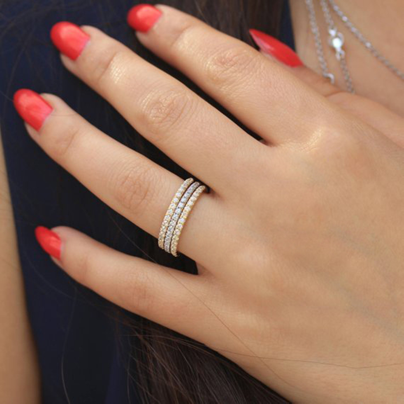 Simple Cubic Zirconia Thin Rings for Woman Elegant Rose Gold color Bridal wedding Party Finger Jewelry girl Gift 3