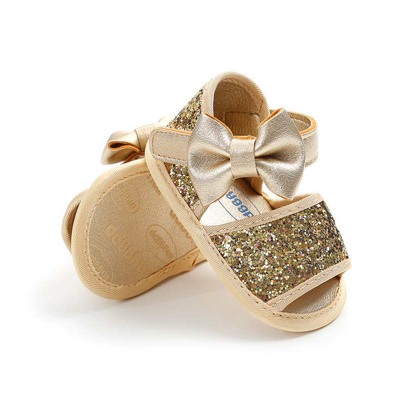 Baby Girl Sandals Big Bow Tie Decoration Baby Shoes Toddler Shining Sequin Non-Slip Sandals Kids Soft Crib Walkers Infant Shoes