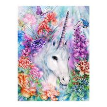 White Unicorn Moge Diamond Painting animal floral Round Full Drilling Modern simplicity living room rectangle New DIY Toy sticking drill cross stitch 2019 nouveaute Colourful butterfly flowers Mosaic Embroidery
