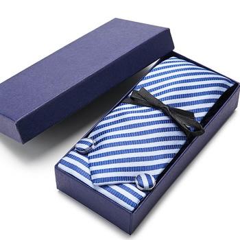 Men`s Tie Gold Striped 100% Silk Tie Jacquard Woven Hanky Cufflink Neck Tie For Men Party Wedding Business Gift box new 7 5cm 100% jacquard woven silk tie for men plaid neckties man s neck tie for wedding business party factory sale