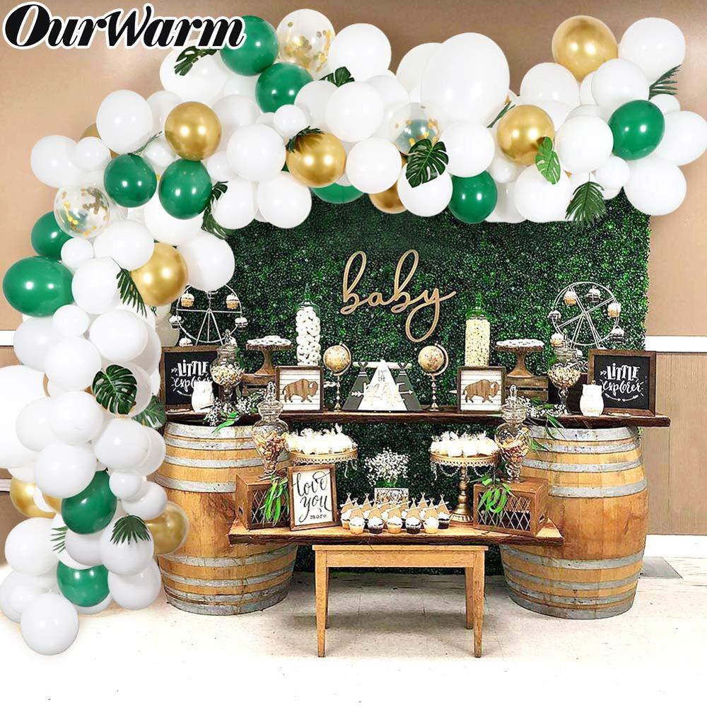 Balloon Arch /& Garland Kit 100 Pearl White /& Gold /& Black Latex Balloons 24 Green Palm Leaves Baby Shower Party Decorations Home Kitty Gold Confetti Balloons Balloon Arch /& Garland Strip Tool Wedding