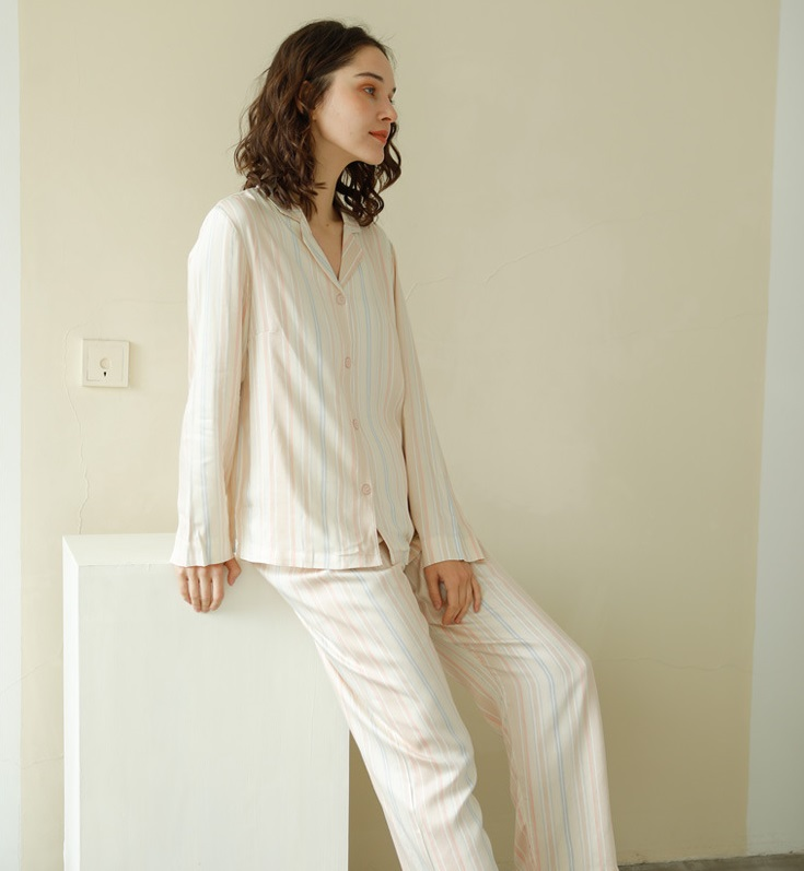 Spring Newest Long-sleeved Pajamas Set for Women Fresh Cardigan Womens Pajamas Set Striped Design Home Suit for Women