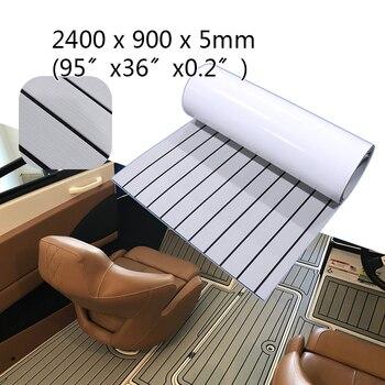 EVA Foam Teak Decking Sheet 90X240cm Gray Black Yacht Marine Carpet Flooring Mat No Skid Self Adhesive Sea Deck Boat Accessories