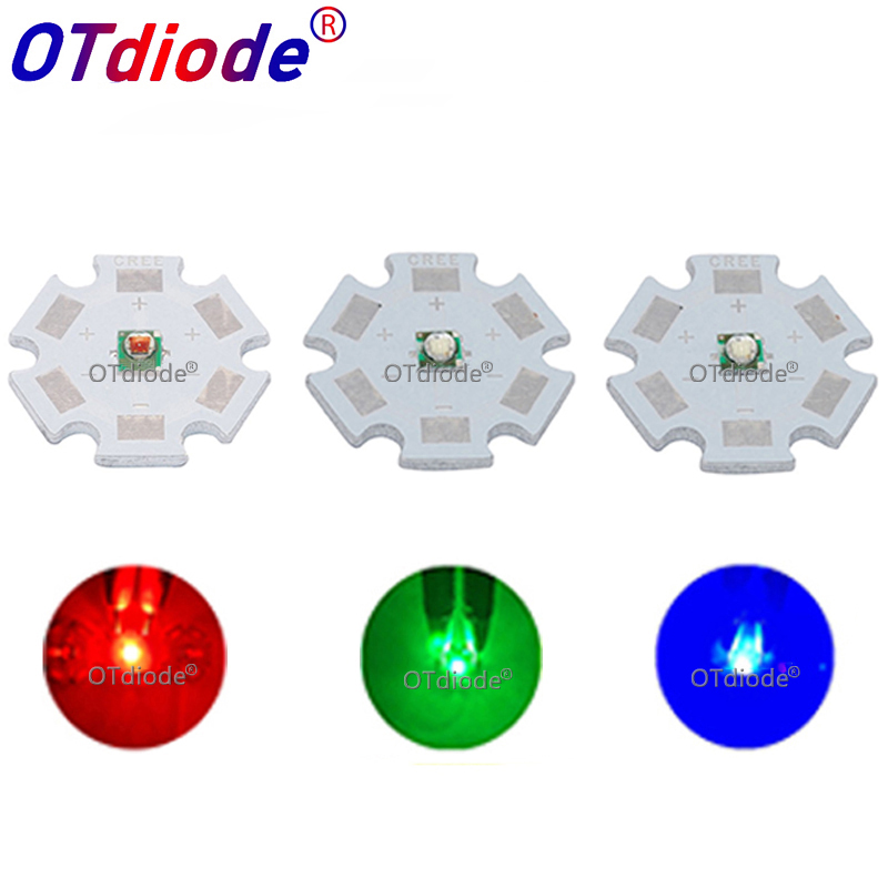10pcs-50pcs Cree LED XPE XP-E R3 1W-3W High Powr LED Red 620nm Green 520nm Blue 460nm 3535 SMD Chip With 20mm 16mm Heatsink