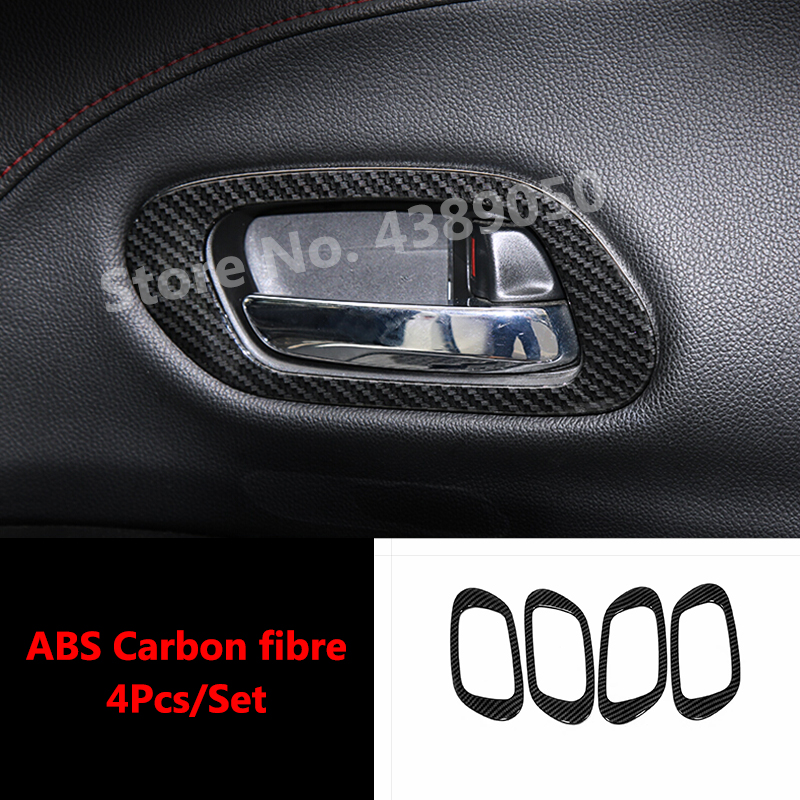 For <font><b>Honda</b></font> HR-V <font><b>HRV</b></font> Vezel Car accessories 2014-2018 ABS Carbon fibre Interior <font><b>Door</b></font> <font><b>Handle</b></font> Cover Bowl Trim Frame Garnish 4pcs image