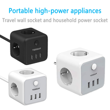TESSAN EU Plug Power Streifen Reise Adapter mit 3 EU Outlets 3 USB Ports Auf/Off Swtich Steckdose
