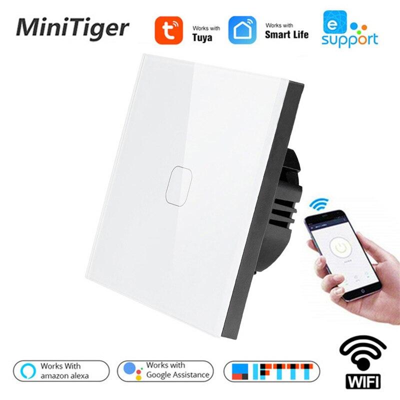 Tuya/Smart Life/ewelink 1/2 Gang 1 Way WiFi luz de pared Interruptor táctil para Google Home alexa de Amazon, Control de voz