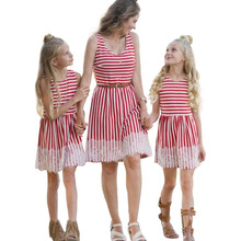 Mother Daughter Dresses Vest Striped Parent-Child And Clothes Mom Dress Family Matching