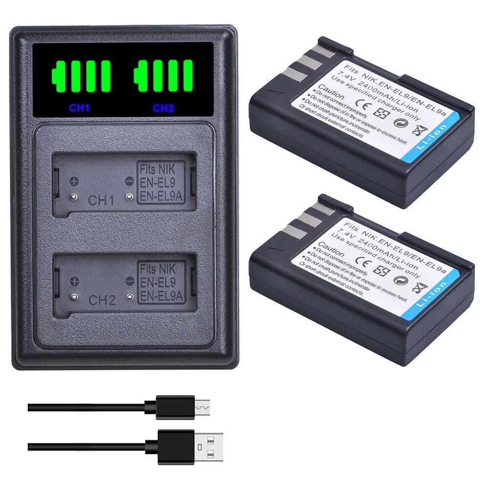 2 pièces EN-EL9 EN-EL9A EN EL9 EL9A ENEL9 Batteries + LED Double Chargeur pour Nikon D40 D40X D60 D3000 D5000 Appareil Photo Numérique