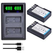 2 шт. EN-EL9 EN-EL9A RU EL9 EL9A ENEL9 батареи + светодиодный двойной Зарядное устройство для Nikon D40 D40X D60 D3000 D5000 цифровой Камера