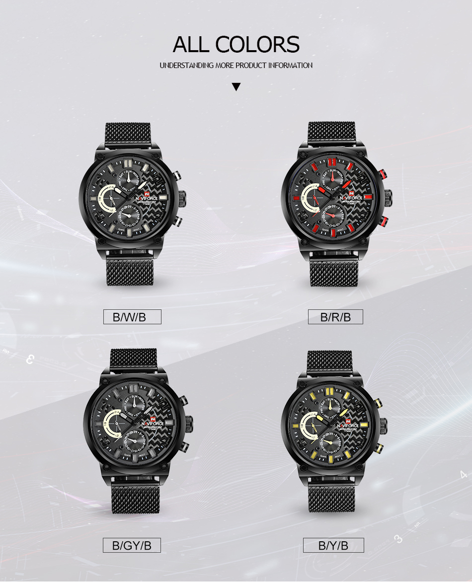 NAVIFORCE NF9068S Men's Waterproof Sport Watch H0156abc7747f407d912f4d0b8bbce62bY
