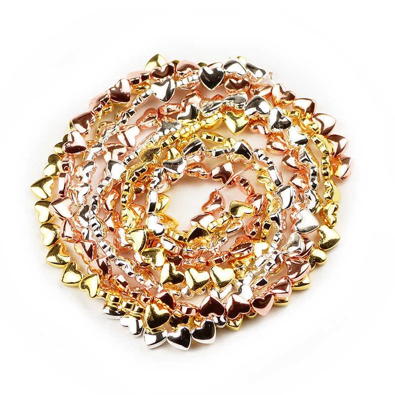 Jhnby 6*5 Mm Mawar Emas Perak Jantung Bentuk Bijih Besi Alami Batu Spacer Longgar Beads untuk Perhiasan Membuat Diy gelang Aksesoris