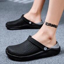 New Men Sandals Crocks LiteRide Hole Shoes Crok Rubber Clogs For Men EVA Unisex Garden Shoes Black C