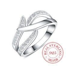 Haute qualité réel 925 en Argent Sterling anneaux pour les femmes femme créative Cz cristal infini Bague Argent 925 Anillos Mujer