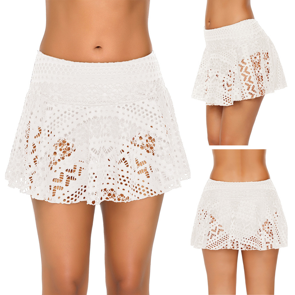 New Style Lace Swimming Trunks Women's Europe And America Solid Color Sexy Hollow Out And Lining Triangle Bikini