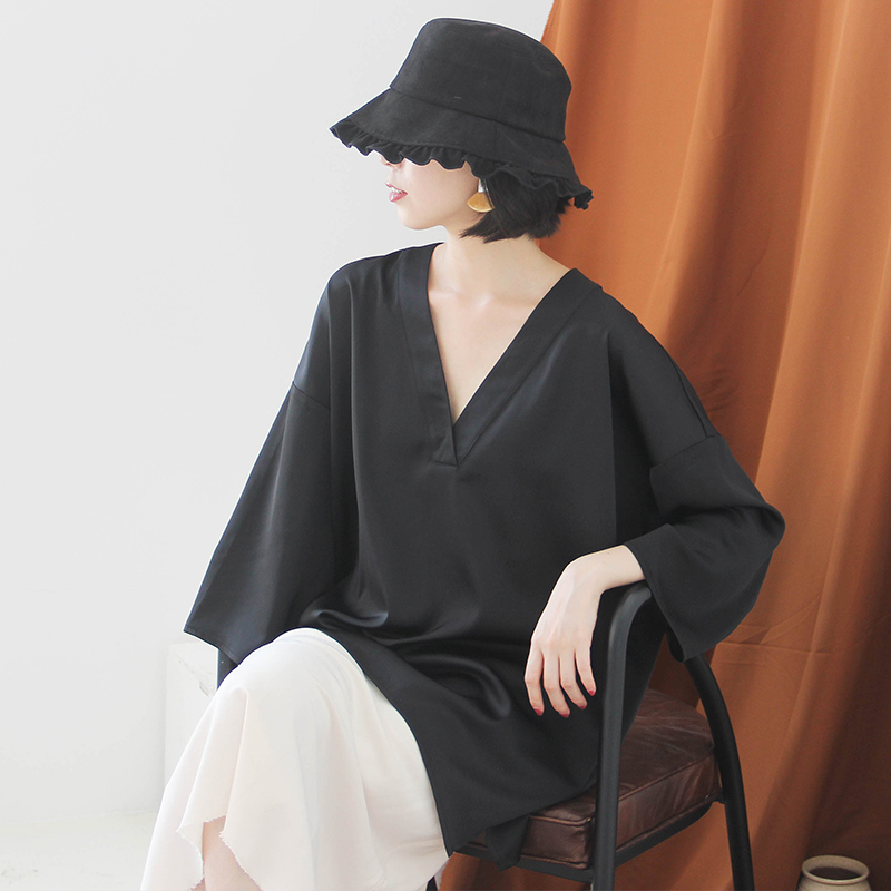 [EAM] Women Black Brief Asymmetrical Big Size Long T-shirt New V-Neck Long Sleeve  Fashion Tide  Spring Autumn 2020 JK987 3