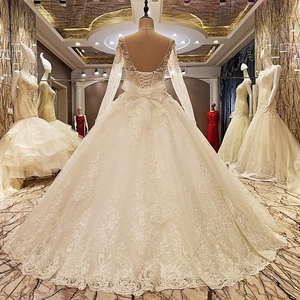 Image 2 - Ls99064 elegante laço vestido de casamento vestido de baile cristal vestidos de casamento robe de mariage 2018 fotos reais