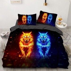Набор постельного белья с объемным рисунком волка, наволочки, одеяла, пододеяльник, пододеяльник, наборы, King, полный, один размер, домашний т...
