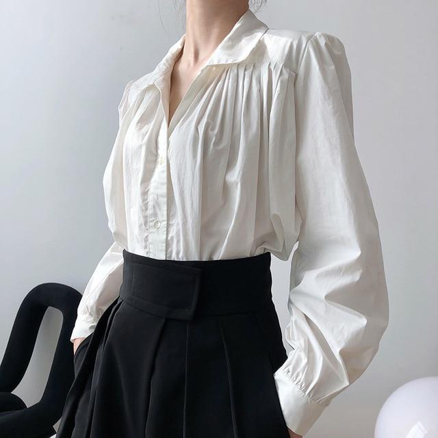 2020 Women Autumn Puff Sleeve Blouses Long Sleeve Turn Down Collar Womens Tops And Blouses White Shirt Blusas Roupa Feminina 2
