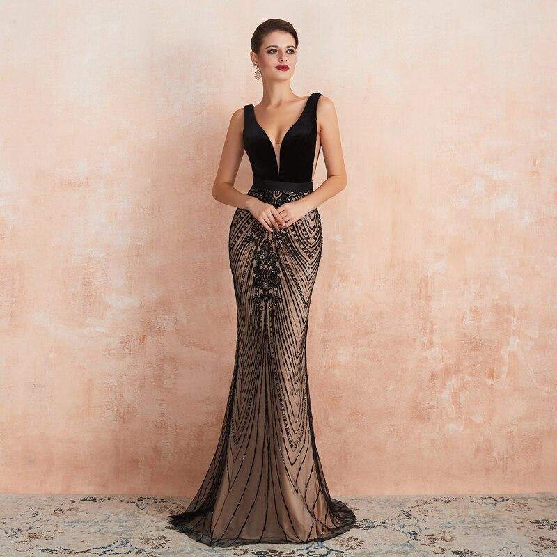 Custom Made Evening Dress Black Mermaid Evening Dresses Long Sequin Lace Formal Dress Women Elegant Party Long Dresses Plus Size