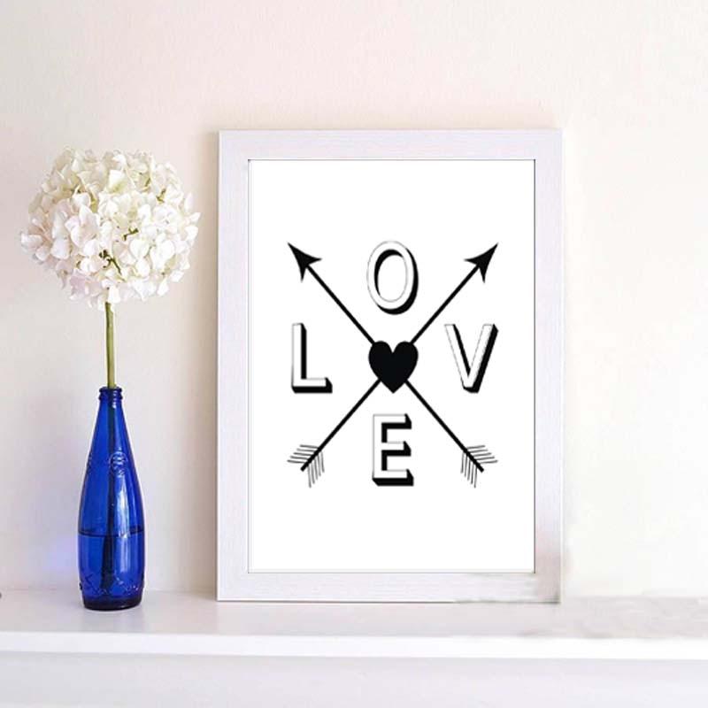 Černá Bílá Moderní Motivační Láska Život Citáty Umělecký tisk Plakát Minimalistický Typografie Nástěnné umění Ložnice Plátno Malování Dekor