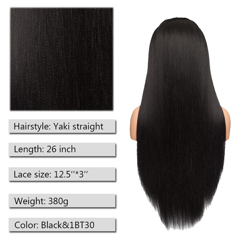 Image 3 - S noilite 26'' Ombre Lace Front Wig 12.5''x3'' Yaki Straight Synthetic Hair Lace Wig Long Wigs For Women Cosplay Halloween Wigs
