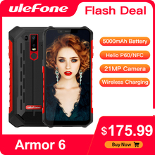 Ulefone Armor 6 NFC IP68 Rugged Smartphone Waterproof Mobile Phone Android   Helio P60 Octa Core 6GB 128GB Face ID