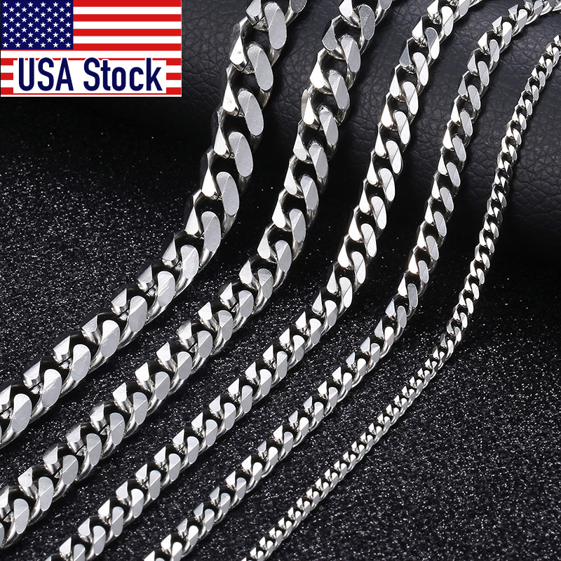 Size 3-9mm Men's Necklace Stainless Steel Cuban Link Chain Gold Black Silver Color Male Jewelry Gifts for Men KNM07