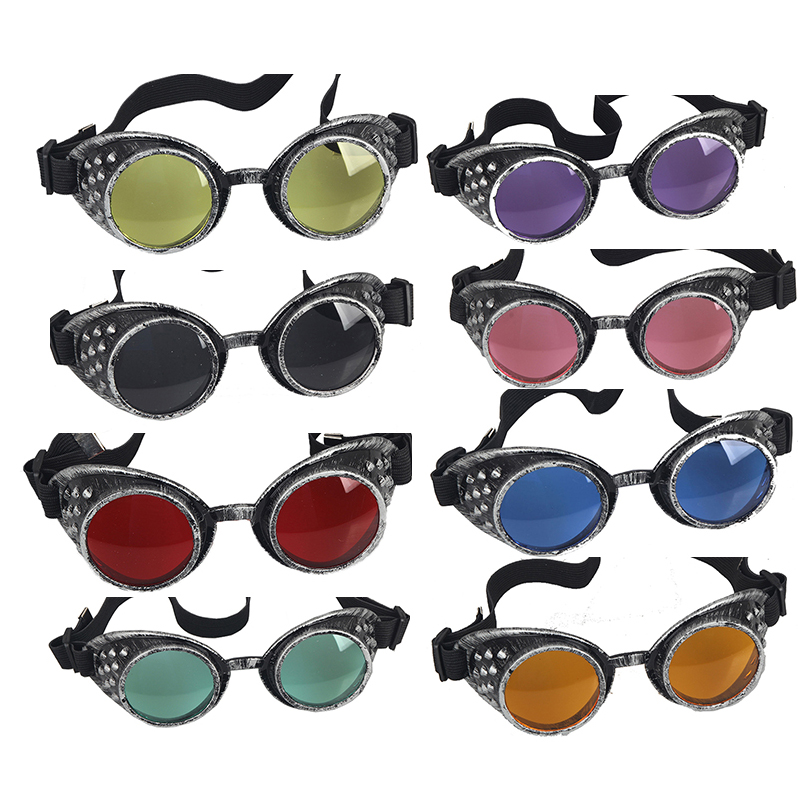 Retro Party Decoration Goggles Frame Lenses Unisex Gothic Vintage Style Steampunk Goggle Welding Gothic Cosplay 21 Color