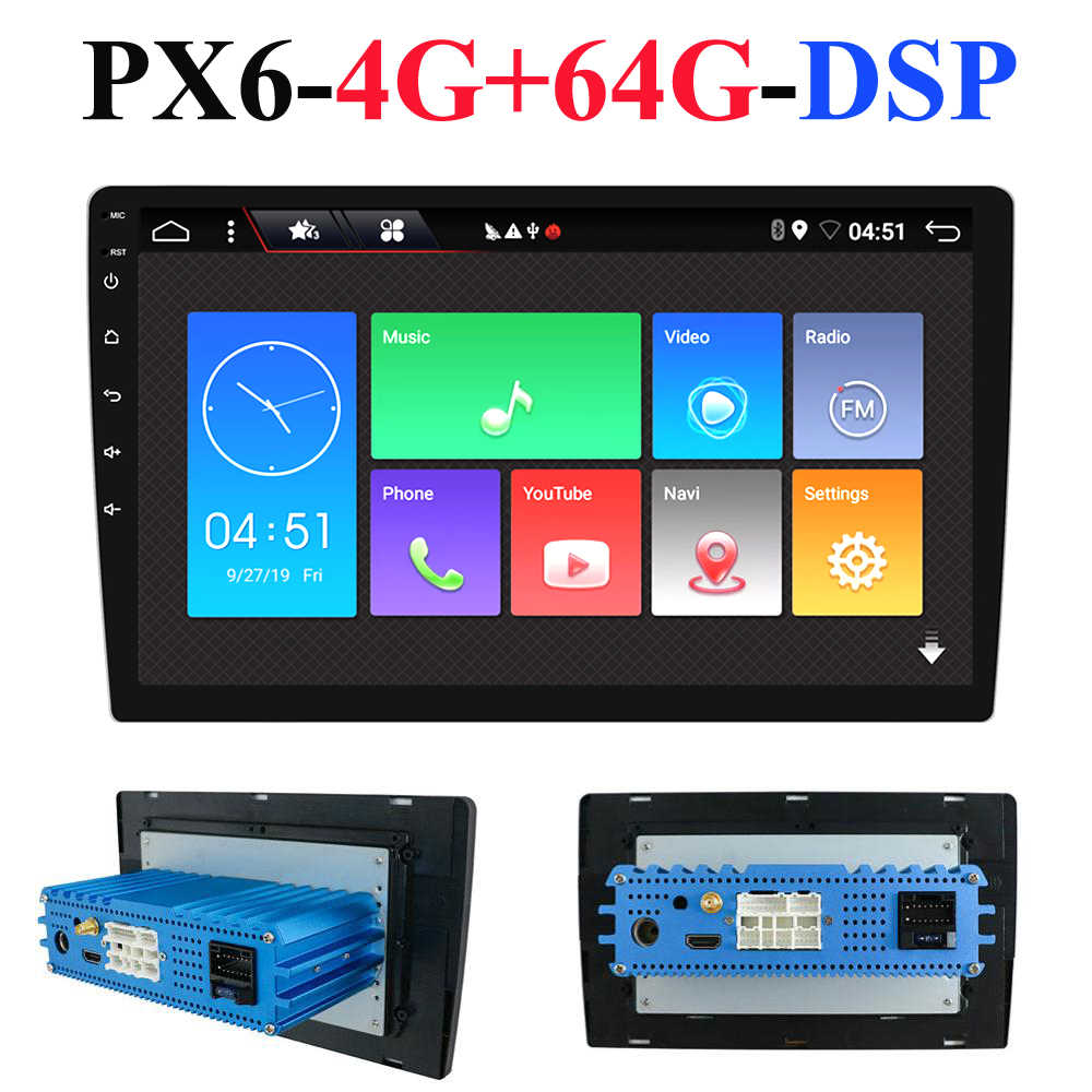 1 Din Android 10.0 Octa Inti PX6 Mobil Radio Stereo GPS Navi Audio Video Player Unit PC Wifi BT HDMI AMP 7851 OBD DAB + SWC 4G + 64G