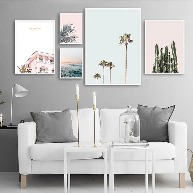 Scandinavische Landschap Canvas Wall Art Poster Nordic Stijl Oceaan Cactus Palm Tree Print Schilderen Natuur Decoratie Foto S Painting Calligraphy Aliexpress