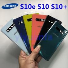 Samsung Galaxy S10 G973 S10 Plus G975 S10E tylna pokrywa baterii pokrywa zamiennik drzwi naprawa części + szkiełko aparatu rama obiektywu