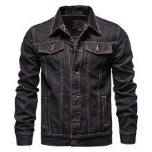 New 2021 Cotton Lapel Denim Jacket Men Casual Solid Color Streetwear High Quality Jeans Jacket Men Autumn Slim Fit Men's Jackets