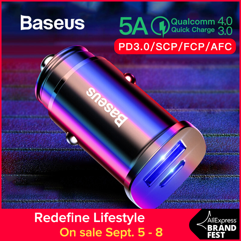 Baseus 30W Dual USB C PD Quick Charge QC 4.0 Car Charger For Mobile Phone Charger Fast USB PD Type C AFC SCP Car Phone Charger Бороскопы
