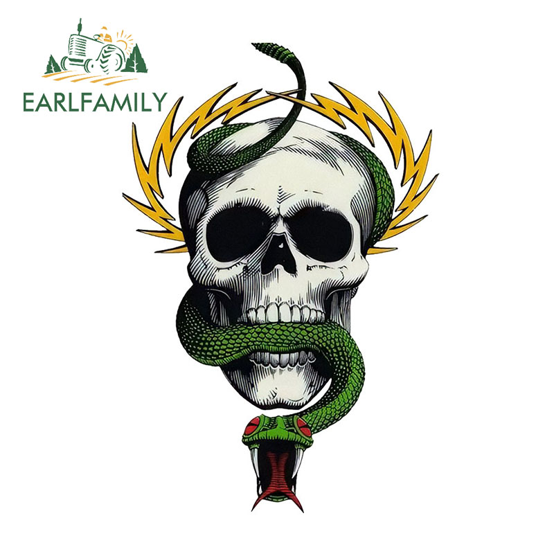 EARLFAMILY 13cmx8.7cm Mike McGill Skull and Snake Design JDM Creative Sticker Car Stickers Waterproof Accessories Bumper Decal