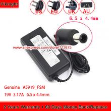 Oryginalne 19V 3 17A UE32J4000 A5919-FSM AC Adapter do Samsung A5919 FSM A5919_FSM UE32J4500 UE32J4510 32 telewizor z dostępem do kanałów 32J5003 UN32J5003AF tanie tanio viknight CN (pochodzenie) 19 v Dla samsung US EU UK AU Power Cord ( Free ) 100-240V~1 5A 50 60Hz Not new but functional normal