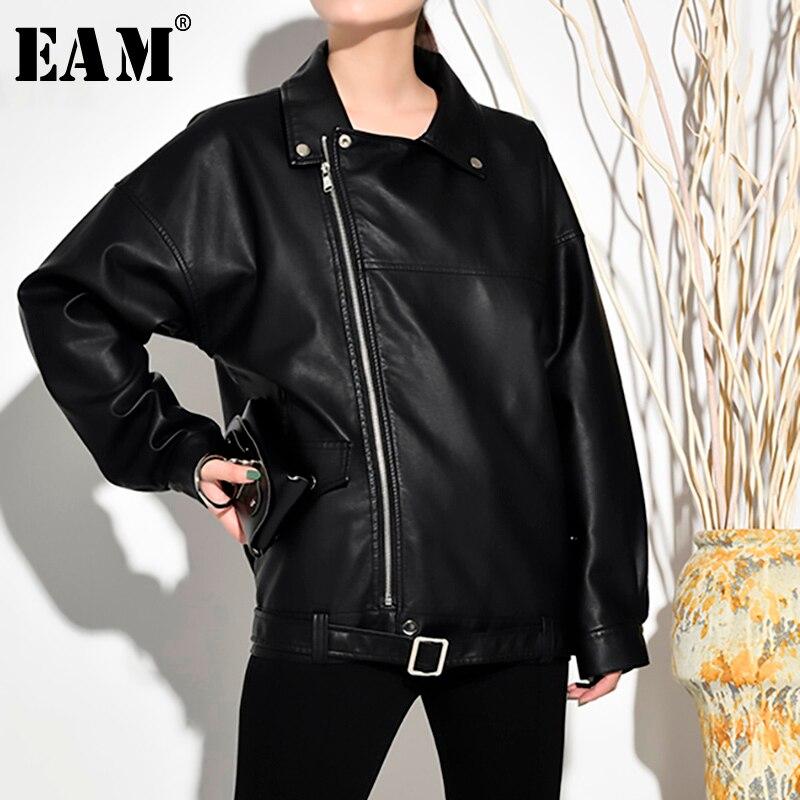 [EAM] Loose Fit Black Pu Leather Zipper Oversized Jacket New Lapel Long Sleeve Women Coat Fashion Tide Spring 2020 LA93801