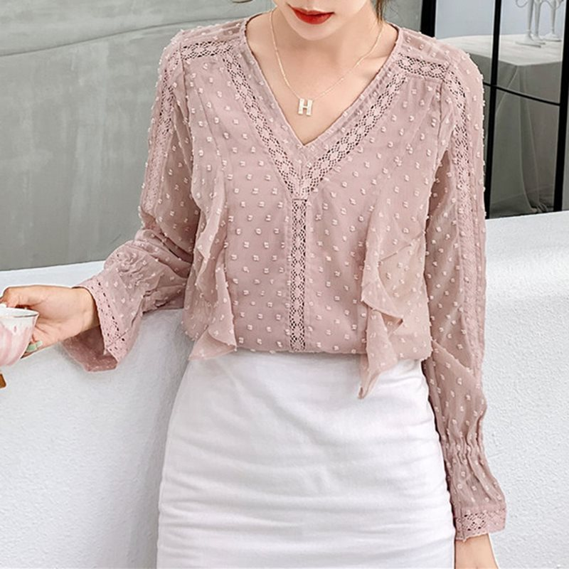 Bohoartist Autumn 2019 Womens Retro Chiffon Blouse Korean Style Ruffle Sweet Shirt Japan Elegant Office Causal Top Pink S-L