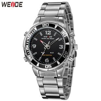 WEIDE Mens Fashion Stainless Steel Strap Army Luxury Brand alarm quartz analog digital display movement Sports Watches Clock weide wh 1009 br stainless steel analog led digital quartz waterproof wrist watch black red