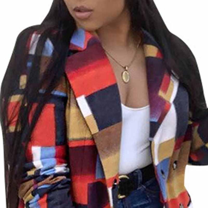Женское осенне-зимнее клетчатое длинное пальто размера плюс 3XL, модное женское Шерстяное Пальто в африканском стиле, элегантное офисное пальто OL