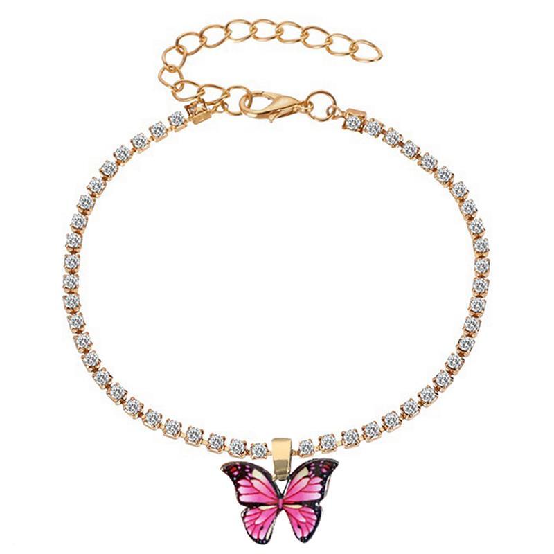 1pc Fashion Butterfly Anklet Creative Adjustable Rhinestone Decor Ankle Bracelet Butterfly Pendant Bracelet Jewelry Accessories