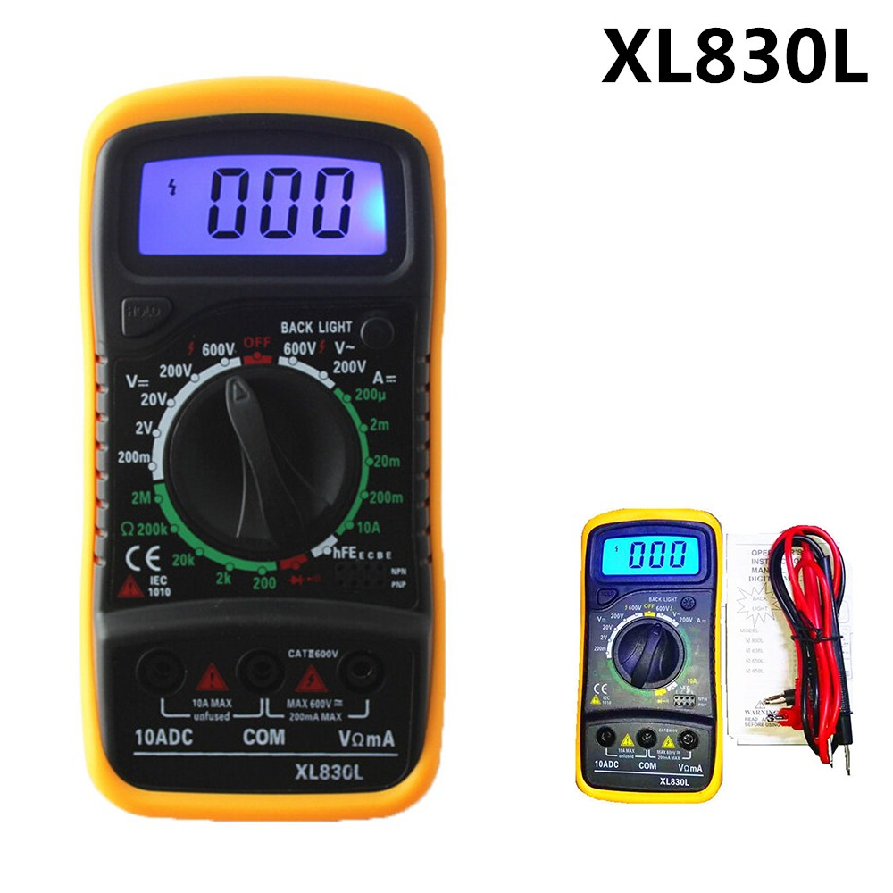 Urijk Multifunction Mini Digital Multimeter Backlight AC/DC Ammeter Voltmeter Ohm Tester Meter XL830L Handheld LCD Multimetrer